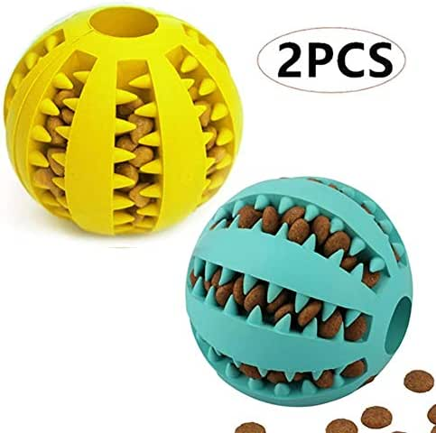 PJDDP Pet Ball Toys Dog Teething Toys Balls,Fun Interactive Food Dispensing Dog Toy,Non-Toxic Natural Rubber Dog Toy for Dogs Cats Tooth Cleaning 2Pack