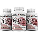 Reishi Mushroom Extract for Immune Support - PACK OF 3 - Powerful 10:1 Concentration - Vegetarian Safe - Gluten Free - 1,000 mg Per Serving - 100% Pure - (Ganoderma Lucidum)
