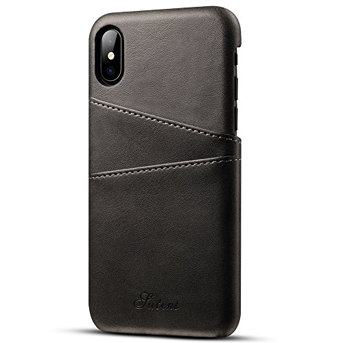 Iphone X Wallet Phone Case, Slim PU Leather Back Case Cover With Credit Card Holder for Men Women Black
