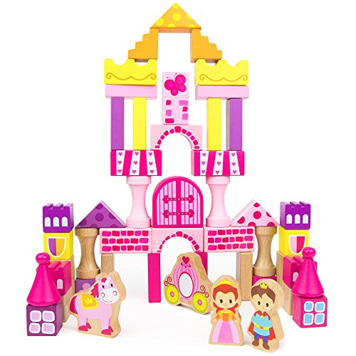 Fairy Tale Kingdom Wooden Building Blocks, 50-piece Princess & Prince Play Toy Set in Storage Drum by Imagination (Adventure Fairy Tale Castle)