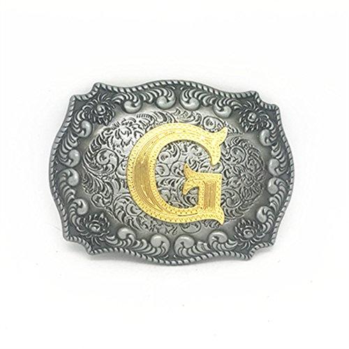 KeCol Adult Mens Initial Letters Western Cowboy Alphabet Rodeo Belt Buckle Letter -