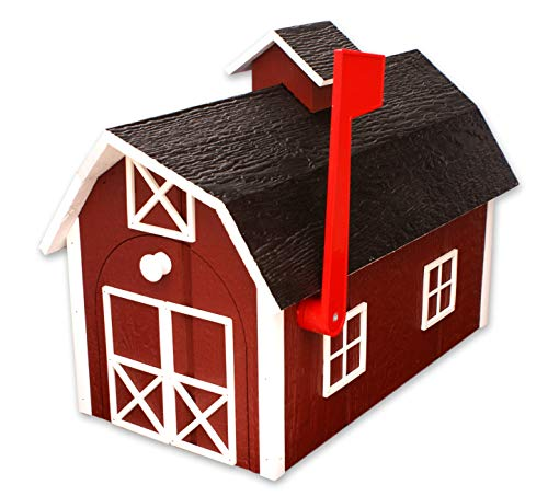 Amish-Made Deluxe Wooden Mailbox, Dutch Barn Style (Red with White Trim) (Barn Mailbox)