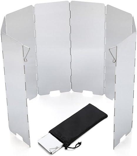 BrilliantDay 10 Panel Plegable al Aire Libre de Aleación de Aluminio del Parabrisas para Camp Stove