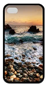 iPhone 4S/4 Case Cover - Sea Shore Cool Design TPU Black Case for Apple iPhone 4s and iPhone 4