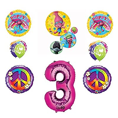 TROLLS PEACE 3rd Happy Birthday Party Balloons Decoration Supplies Poppy Branch Movie: Toys & Games