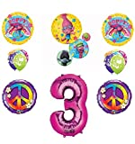 TROLLS PEACE 3rd Happy Birthday Party Balloons Decoration Supplies Poppy Branch Movie