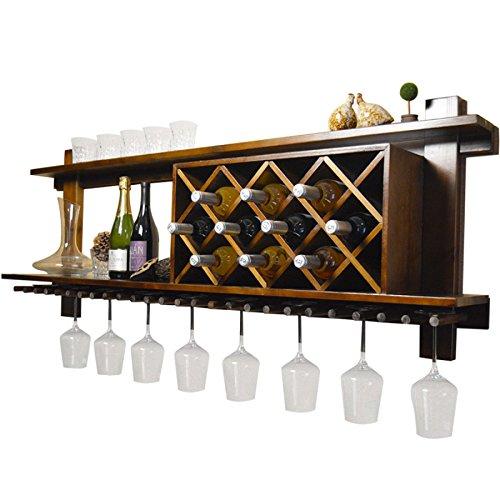 SUNDAY-QH Wine Racks Solid Wood Wall Hangings Wine Racks Restaurant Wall Racks Simple Wine Trellis (Trellis Wine Racks)