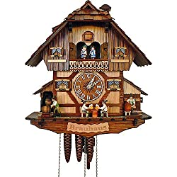 Anton Schneider Cuckoo Clock Black Forest house with moving beer drinkers