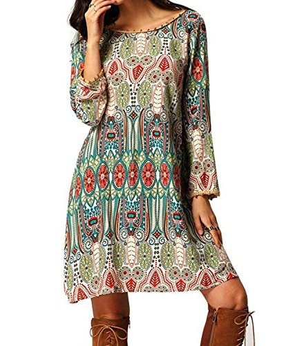 Women Bohemian Back V Neck Vintage Printed Ethnic Summer Shift Tunic Dress (XXL(For US10-12), green)