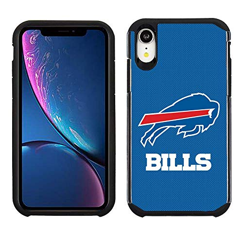 Prime Brands Group Cell Phone Case for Apple iPhone XR - NFL Licensed Buffalo Bills - Blue Textured Back Cover on Black TPU Skin Buffalo Bills Nfl Case