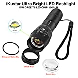 Tactical Flashlights iKustar T6 LED Handheld Torches Flashlights Super Brightness Waterproof Taclights 5 Light Modes Adjustable Focus Flashlight For Camping Hiking (Black, T6-2)