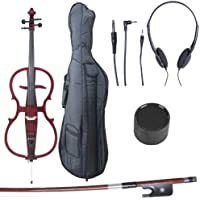 Cecilio CECO-1LW Ebony Fitted Silent Electric Cello, Style 1, Metallic Red Mahogany, 4/4 (Full Size)