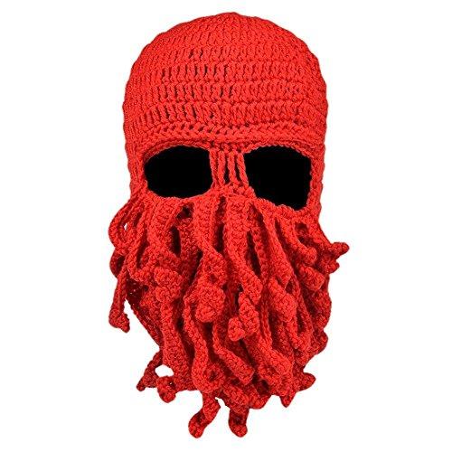 Alohaa Beard Hat Christmas Beanie Hat Knit Hat Winter Warm Octopus Hat Windproof Funny for Men & Women - Men Beards Styles