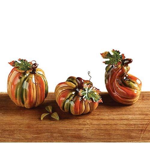 Set of 3 Porcelain Mini Pumpkins