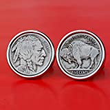 US 1927 Indian Head Buffalo Nickel Coin Silver Plated Cufflinks NEW
