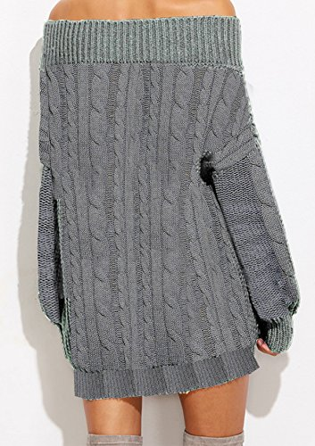 Longue Robe gris Large Manche A Robes Pull Yidarton Femme Mini Casual Hiver S4a6Fw
