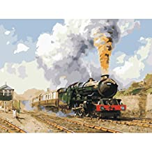 Wishwin Paint by Number Kits for Adults Kids Home Drawing Full of Vigour Paintwork 16x20 inch Frameless,Train