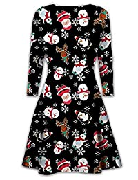 Mymixtrends® Childrens Swing Dress Girls Christmas Xmas Flared Santa Reindeer Rudolph Dress