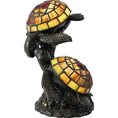(Quoizel TF4052R Wellton Tiffany Turtle Table Lamp Lighting, 2-Light, 30 Watts, Architectural Bronze (11