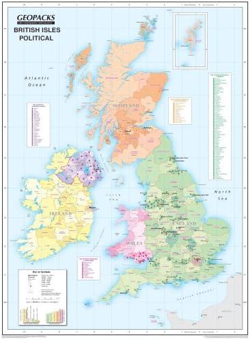 Mapa de pared de Islas Británicas para niños - Reversible político/físico laminado mapa, ZMFP146: Amazon.es: Oficina y papelería