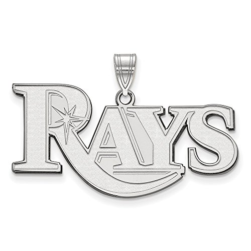 (Roy Rose Jewelry 14K White Gold MLB LogoArt Tampa Bay Rays Large Pendant)
