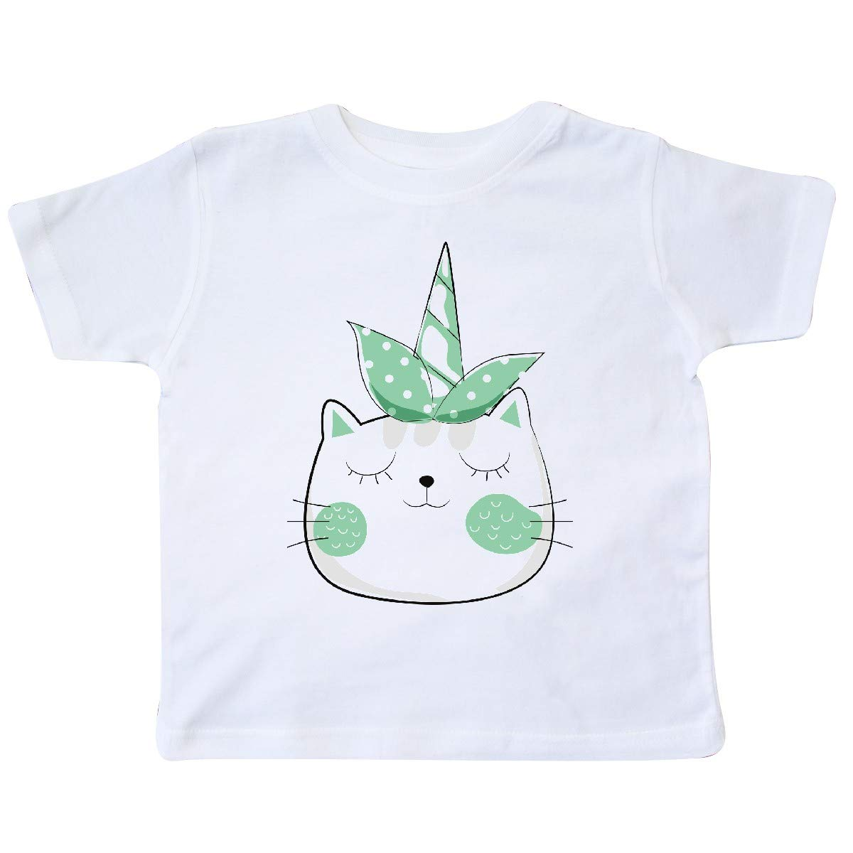 Green Toddler T-Shirt inktastic Unicorn Cat Cat with Dotted Ribbon