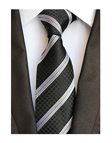 Men's ItalianSkinny Striped Ties Elegant Textured Necktie in Jet Black and White ()
