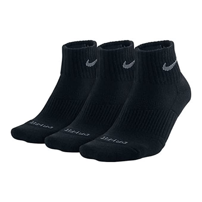 Amazon.com: Nike Dri-Fit mitad Cushion Quarter calcetines (3 ...