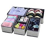 Homyfort Cloth storage boxes Closet Drawer Dresser Organizer Divider storage cubes bins for clothes, underwear, bras, socks, ties, scarves, 6 pack stripe