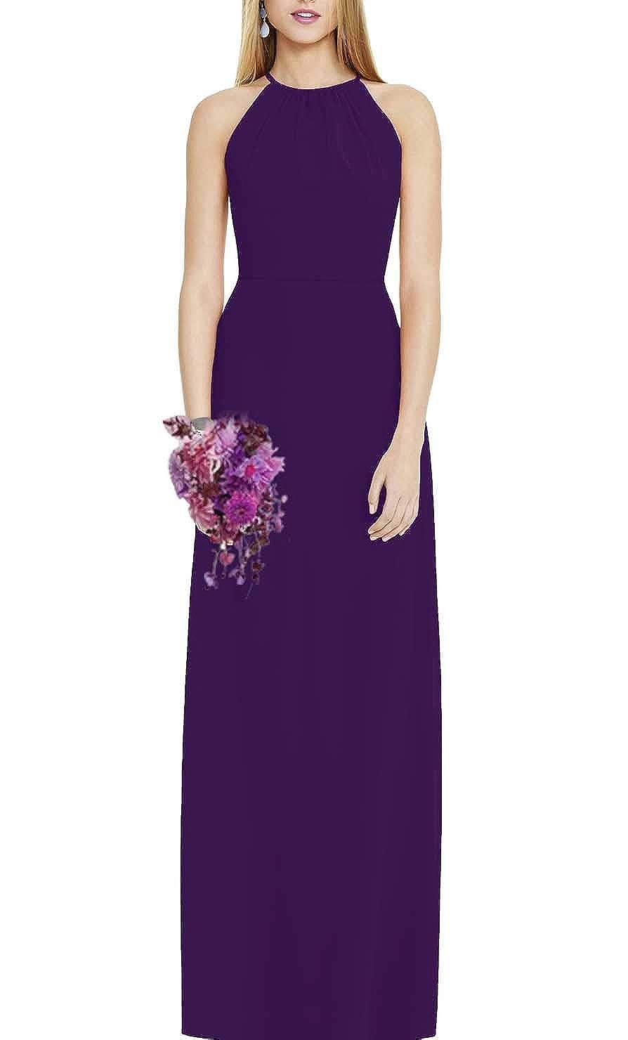 Dark Purple FeiYueXinXing Women's Halter Neck ALine Prom Ball Gowns Long Evening Bridesmaid Guest Dresses