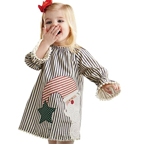 Kehen Baby Girls Santa Printed Striped Tassels Long Sleeve Party Princess Dress (2T, (Baby Girls Santa Dress)