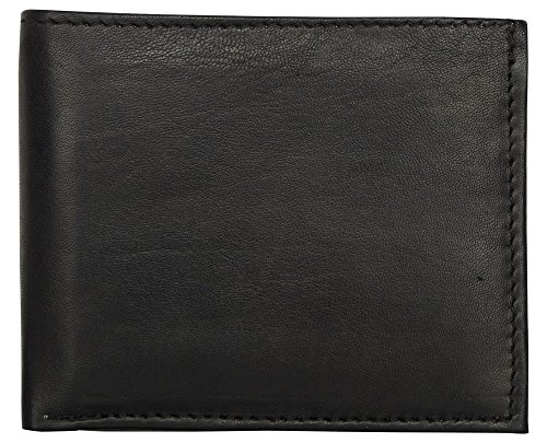 LEATHER OF INDIA Men's Leather Wallet Bi Fold - Soft Sheep Nappa With Side Flap 11.5 X 9 X 1 Cm Black by LEATHER OF INDIA (Image #6)