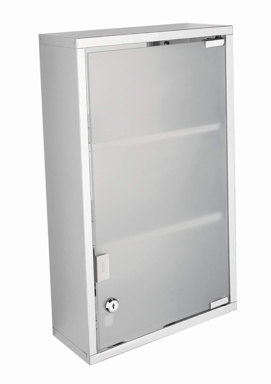 tft Mobile Bagno Sospeso Vetrinetta in Acciaio Inox 27x12x50cm Accessories Argento Trasparente