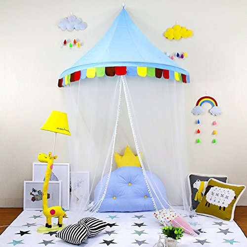 Baby Bed Canopy, Princess Hanging Play Tent, Round Hoop Mosquito Netting for Bedroom Decoration, Study Indoor Reading Corner, Children Play Tent Castle (Dark Blue) - Canopy Baby Crib