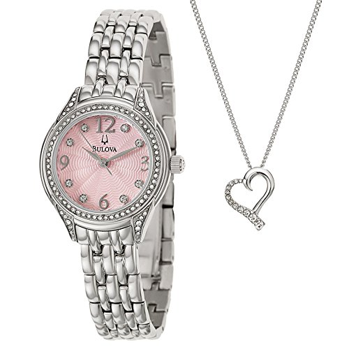 Bulova Ladies' Pink Dial Crystal Watch & Heart Necklace Set 96X124