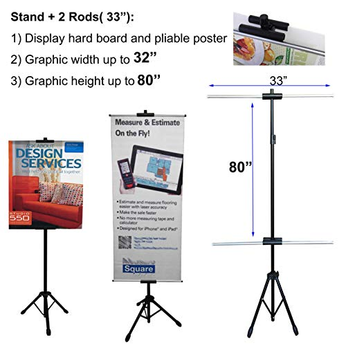 (Upgraded New Design,Telescopic Tripod Stand for Banner and Board Sign, Adjustable Size up to 90