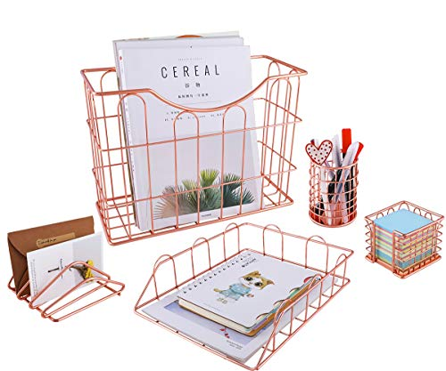 (Superbpag Wire Metal 5 in 1 Desk Organizer Set - Letter Sorter, Pencil Holder, Stick Note Holder, Hanging File Organizer and Letter Tray)