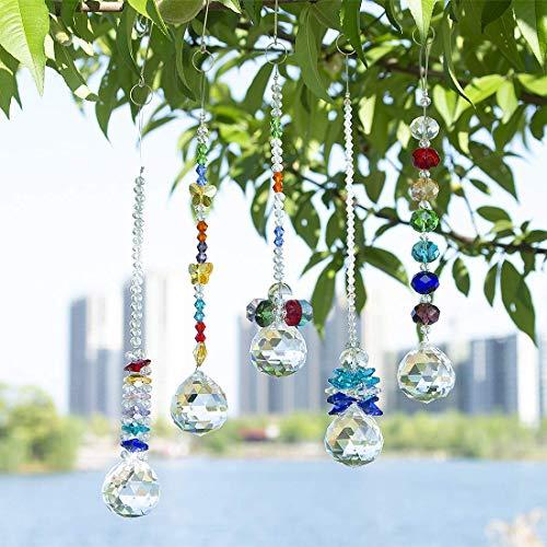 H&D Crystal Ball Prism Rainbow Octogon Chakra Hanging Suncatcher - Window Sun Catcher, Set of 5
