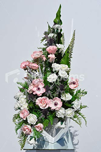 Silk-Blooms-Ltd-Artificial-Pale-Pink-Anemone-and-Rose-Floral-Arrangement-wFoliages-and-White-Vase