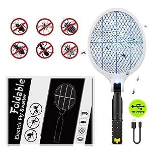 Myguru Racchetta Zanzare Elettrica Pieghevole, 4000V Swatter Elettrico USB Ricaricabile Grande Repellente Mosquito… 4 spesavip