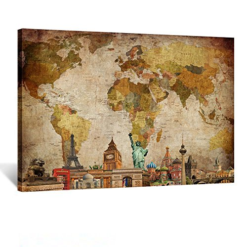 Kreative Arts Vintage World Map Canvas Wall Art Retro Map of the World Canvas Prints Travel Poster Pictures Framed and Stretched for Living Room Ready to Hang 24x32inch