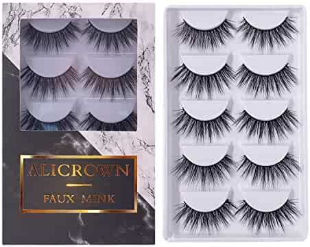 6a05ed8349f ALICROWN 3D Eyelashes Pack False Eyelashes Mink Fur Hand-Made Dramatic  Thick Crisscross Deluxe Nature