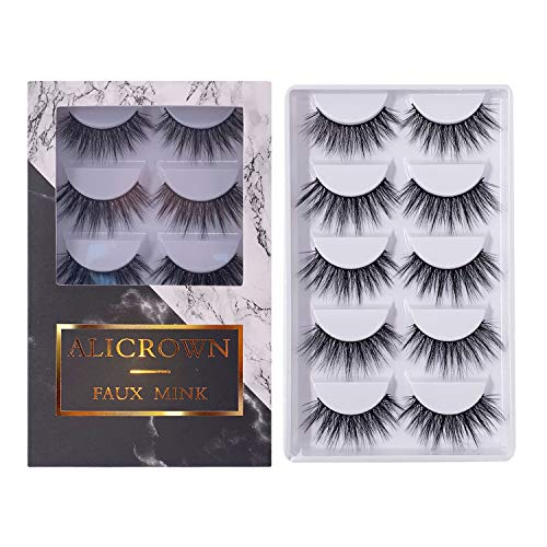ALICROWN 3D Eyelashes Pack False Eyelashes Mink Fur Hand-Made Dramatic Thick Crisscross Deluxe Nature Fluffy Long Soft Reusable]()