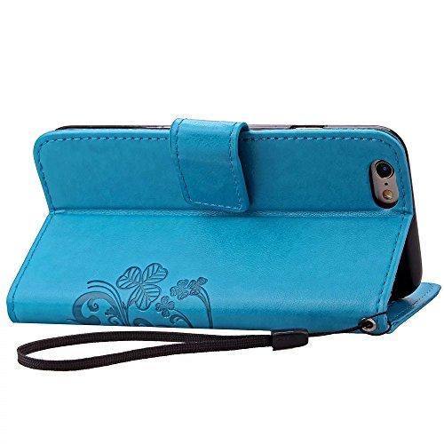 Sunroyal® Premium Flip Cuero Case Wallet - para iPhone 6 Plus / iPhone 6S Plus 5.5 Funda Caso Carcasa Ultra Slim Delgada Cover de PU Piel Silicona Estilo del Libro Cubierta en Carpeta Diseño Caja del  Azul02