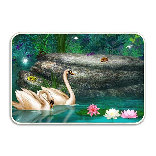 PlayA Animal Swans Frog Rock Lotus Flower Pond Forest Artistic Fancy Doormat Accent Non-Slip Rug for ()