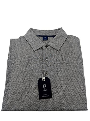 FootJoy 1857 Short Sleeve Dot Jacquard Knit Golf Shirt, Heather Grey, L (Shirt Rain Sleeve Footjoy Short)