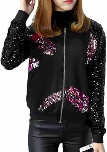 633c4c17d5aa JEERISE Women's Mermaid Sequin Blazer Long Sleeve Plus Size Clubwear  Sparkly Bomber Jacket