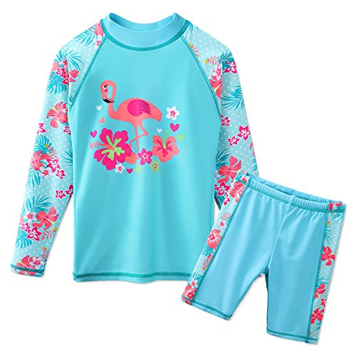 TFJH E Toddler Girl Long Sleeve Swim Suits Beachwear Surfing Rashguard UPF 50+ UV 2PCS Swimming Clothes for Girls Aqua Flower,Cyan Swan 12A ()