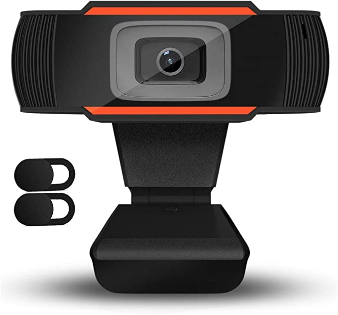 QueenDer Webcam HD 720P con 2Pcs Cámara Web Cover y Micrófono USB Webcam Mini Plug Play para Videollamadas, Estudios, Conferencias, Skype, Ordenador, PC