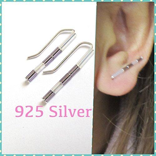 D28 Dainty Minimalist Ear Cuffs, Cute Unique Stud Earrings, Hypoallergenic Sterling Silver Simple Everyday Earrings, ear climbers, bar earrings, ear crawlers, ear (D28 Glasses)